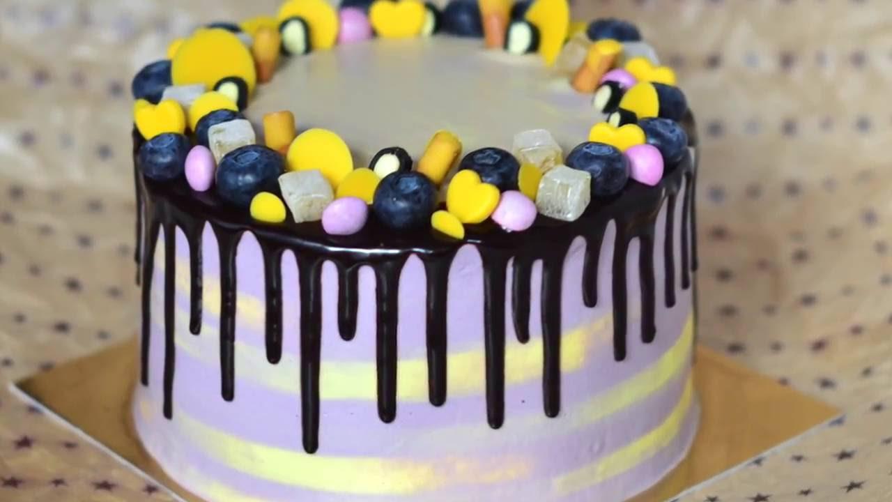 Как красиво украсить торт!!! - YouTube