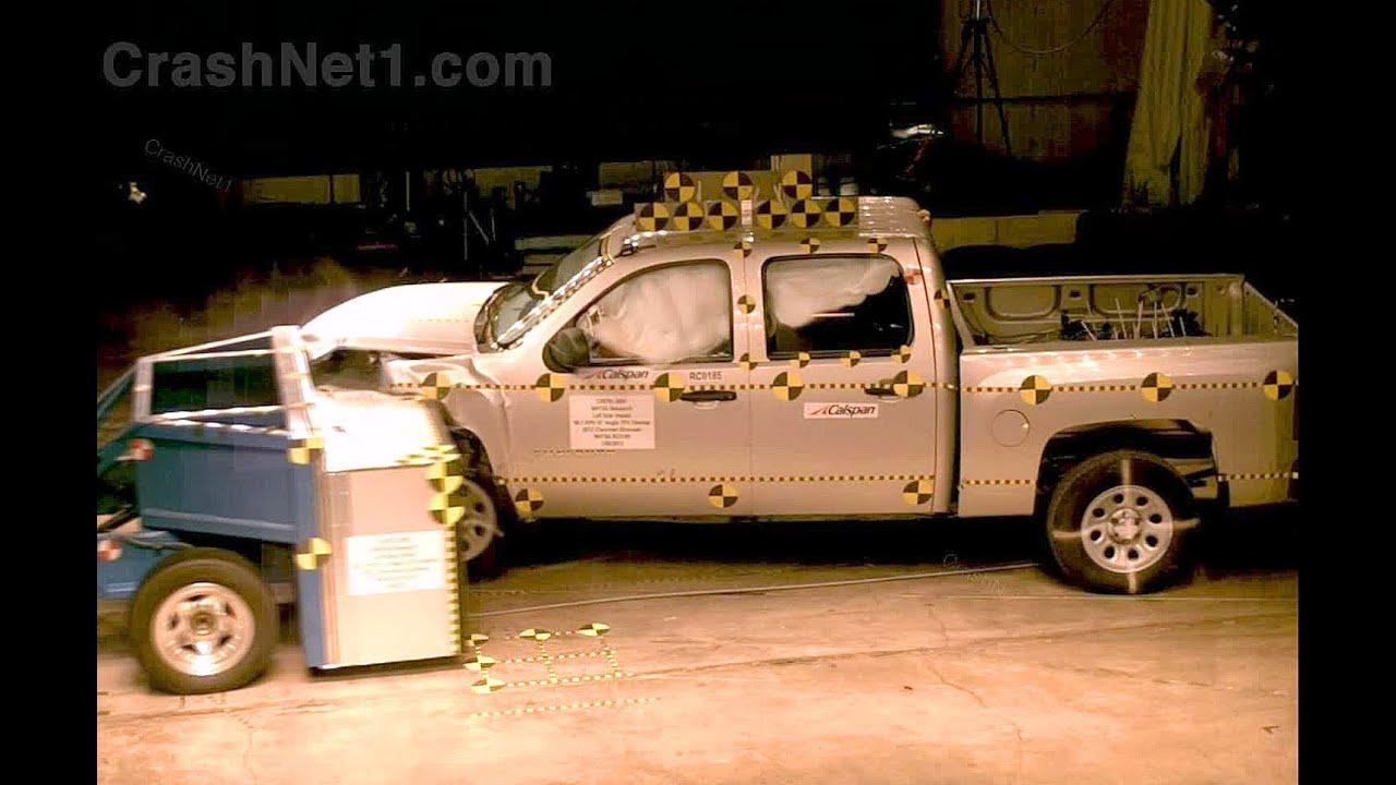 2012 chevy silverado frontal oblique offset 35 overlap driver crash test by nhtsa crashnet1 youtube
