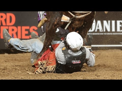 WRECK: Lachlan Richardson roughed up by Slinger Back (PBR)