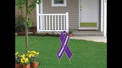 VictoryStore Alzheimer's Awareness Ribbon Yard Sign - Lawn Decoration