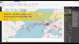 Power BI - Symbol Anzeigen benutzerdefinierte visual - Analyse und-Animation Flug-Daten