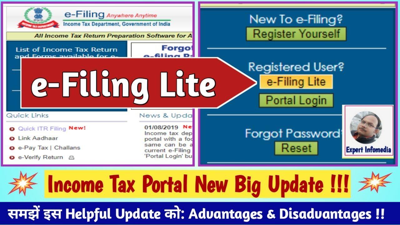 Income Tax Portal New Big Update!! E-FILING LITE: Launched for EASY ITR  Filing !! समझें हिंदी में !