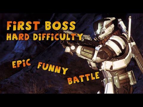 Destiny - Epic First Boss Battle Hard Difficulty Gameplay ...