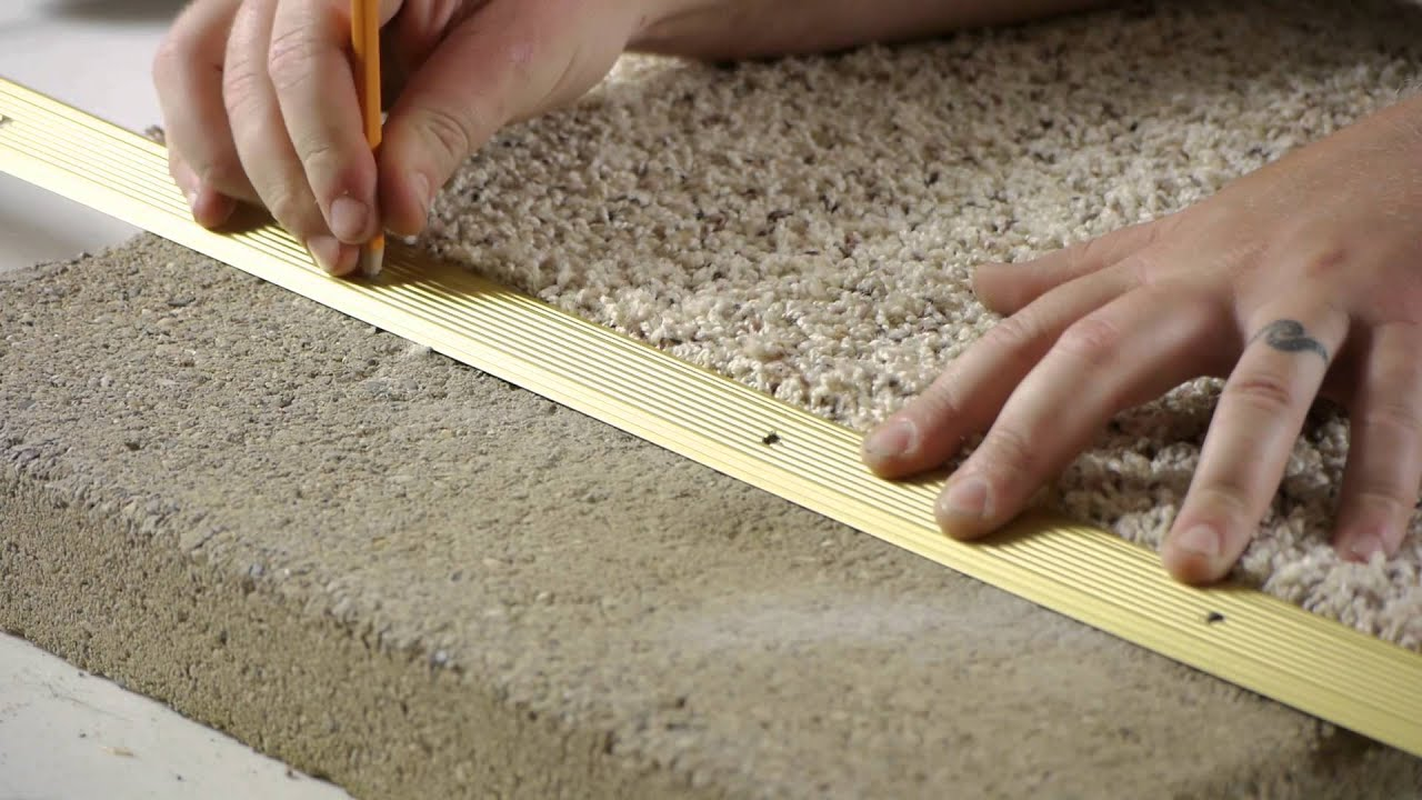 How to Install Carpet Transition Trim Between Concrete ...