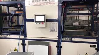 Luggage forming machine operate  in customer factory