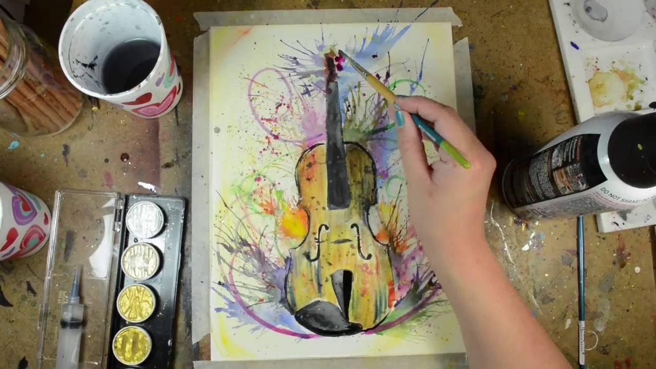 Violin Watercolor Painting
