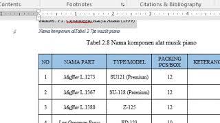 Cara membuat daftar tabel otomatis