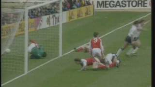 Gary Lineker scores two goals for Tottenham against Arsenal in the 1991 FA Cup Semi Final