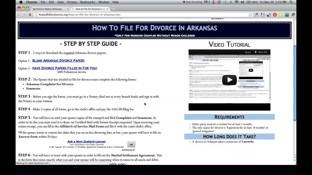 Free Arkansas Divorce Papers and Forms YouTube – Free Divorce Forms Papers