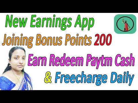 New Earnings App Joining Bonus Points 200 Earn More Redeem Paytm Cash & Freecharge Daily in Tamil