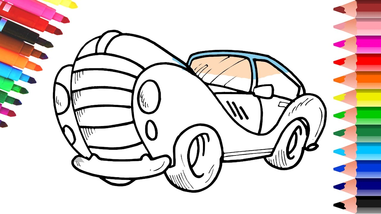 Toy Car Coloring Pages And Drawing Coloring Videos With Colored