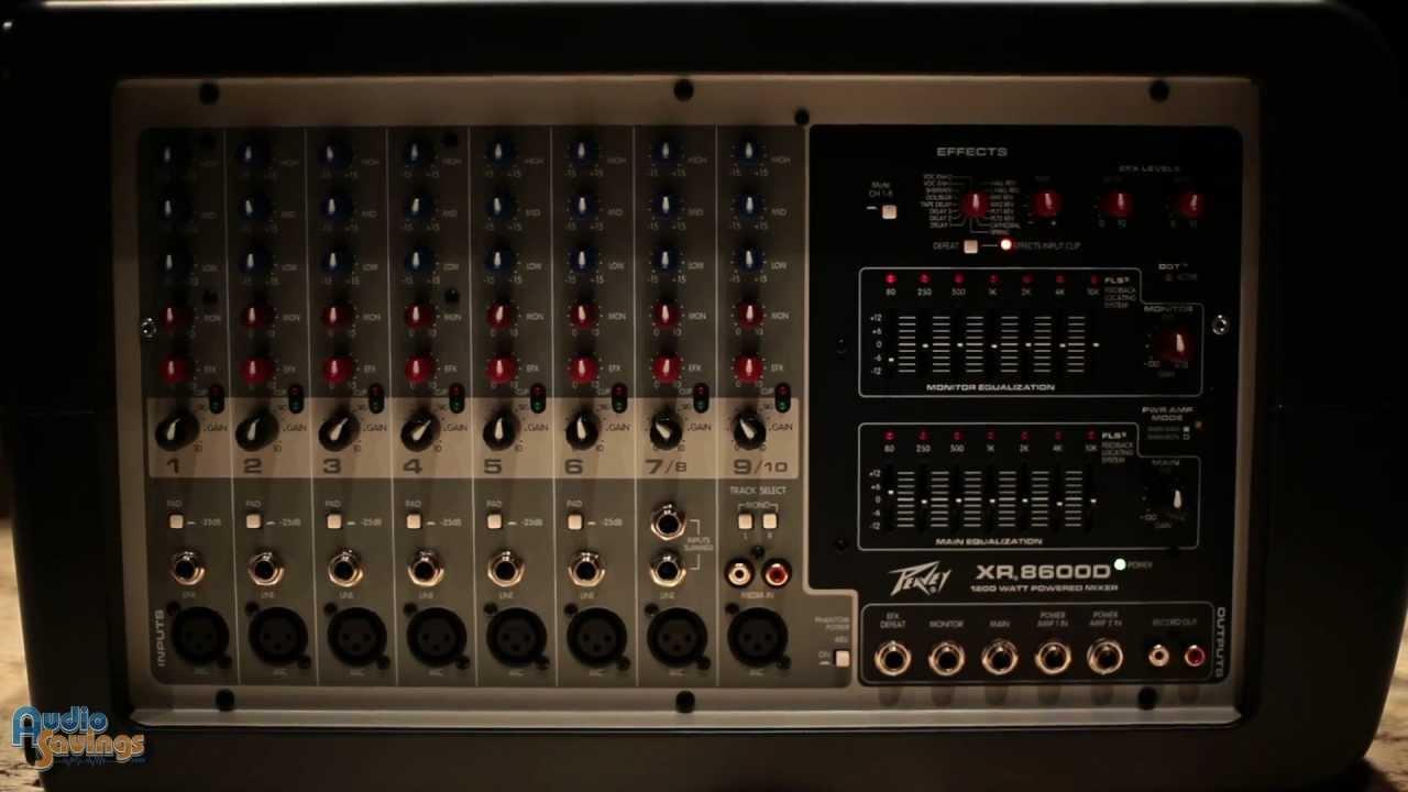 "peavey xr8600 xr8300 1200 watt class d powered 9 channel mixer rh youtube com 15"" Peavey Battary PBK peavey xr8600d manual pdf"