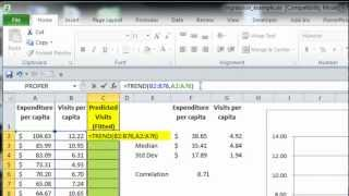 Excel Statistics 09 - Simple Linear Regression (Trend Array Function)