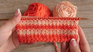 Узор спицами из полосок | Striped knitting pattern