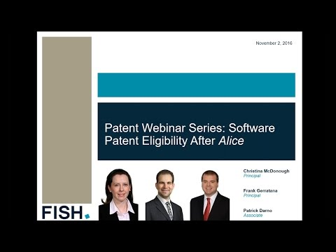 Webinar | Patentability of Software After Alice