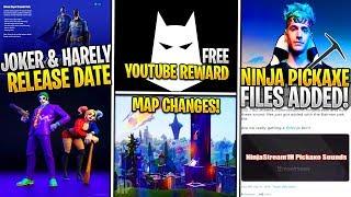 *NEW* JOKER & Harley Quinn Fortnite Release Date Leaked! Leaked NINJA PICKAXE/Set, Youtube Reward