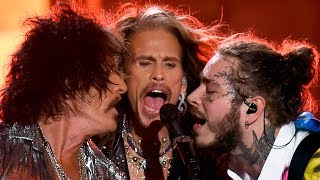"Post Malone Surprises Crowd With Aerosmith For ""rockstar"" Performance At 2018 Vmas"