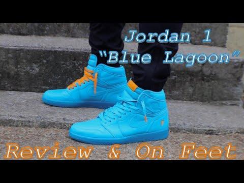 "61056284ece595 Jordan 1 Retro High ""Blue Lagoon"" GATORADE Review   On-Feet - YouTube"