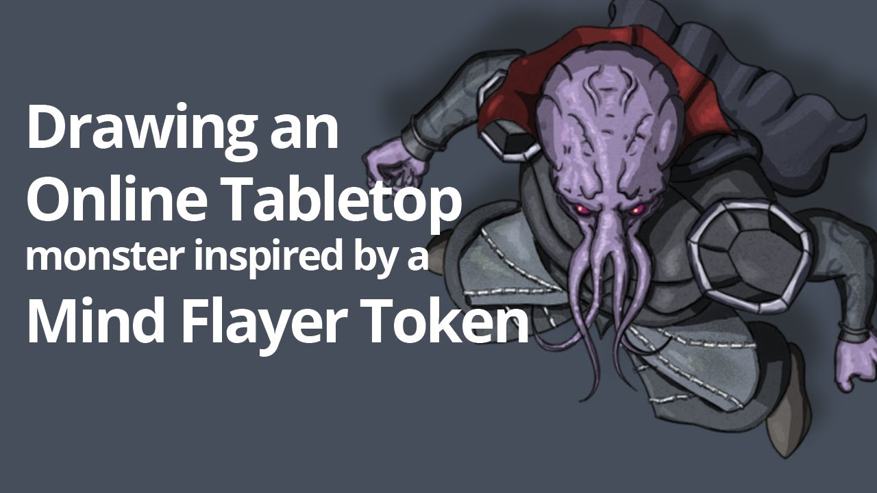 Drawing a monster inspired by a Mind Flayer token for Roll20 (Timelapse)