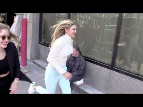 EXCLUSIVE - Gigi Hadid running for her life in Paris