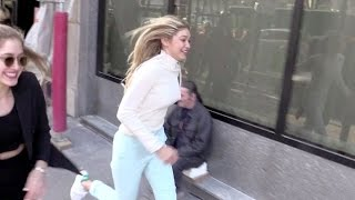 EXCLUSIVE - Gigi Hadid running for her life in Paris