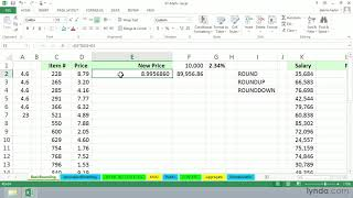 Excel formula tutorial: Working with ROUND, ROUNDUP, and ROUNDDOWN | lynda.com