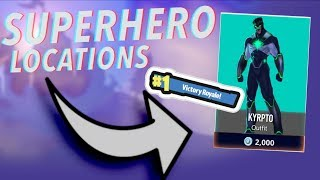 FORTNITE SUPERHERO HIDDEN LOCATIONS! BATTLE ROYALE LIVE!