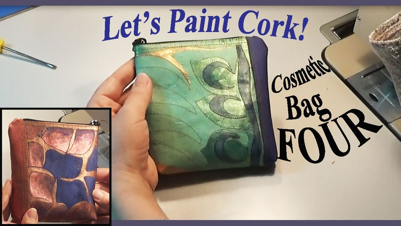 c6e801763c54 How to Paint Cork Fabric   Cosmetic Bag FOUR   2 Prototypes   Zazu's  Tutorials