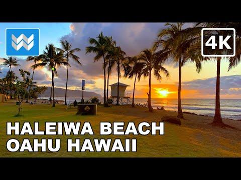 [4K] Haleiwa Beach Park in North Shore Oahu, Hawaii USA - Sunset Walking Tour