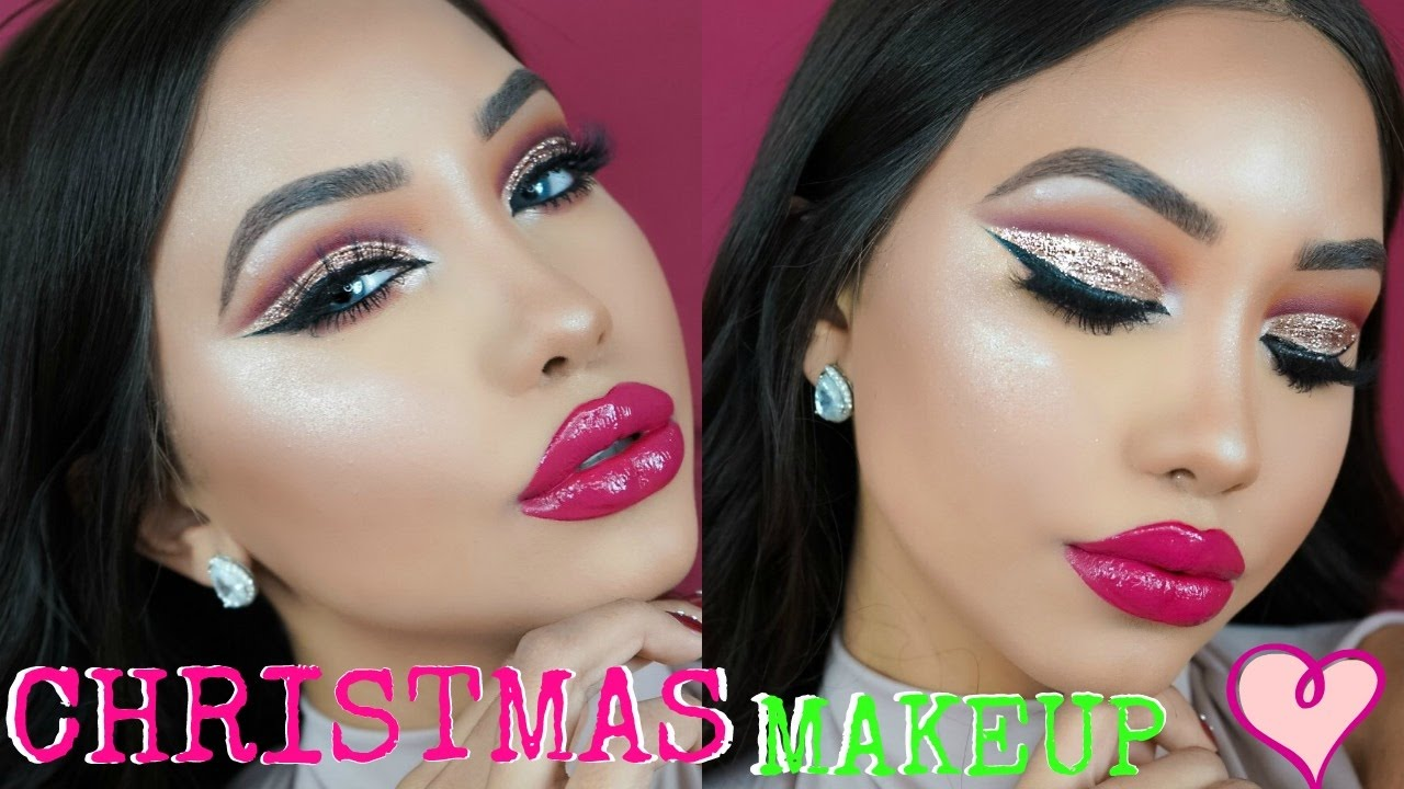 Christmas Glitter Cut Crease Makeup Tutorial Melly
