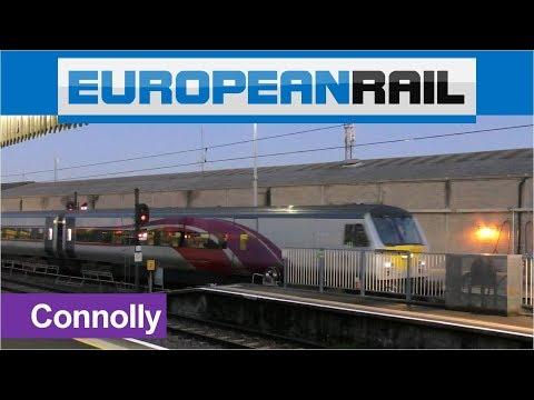 Irish Rail 201 loco 206 + Enterprise Train 9004 arrives at Connolly Station, Dublin