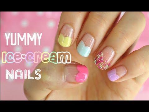 easy ice cream & sprinkles nail