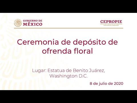 Ceremonia de depósito de ofrenda floral. Estatua de Benito Juárez, Washington D.C.