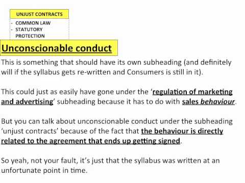 Unjust Contracts - HSC Legal Studies - Consumers