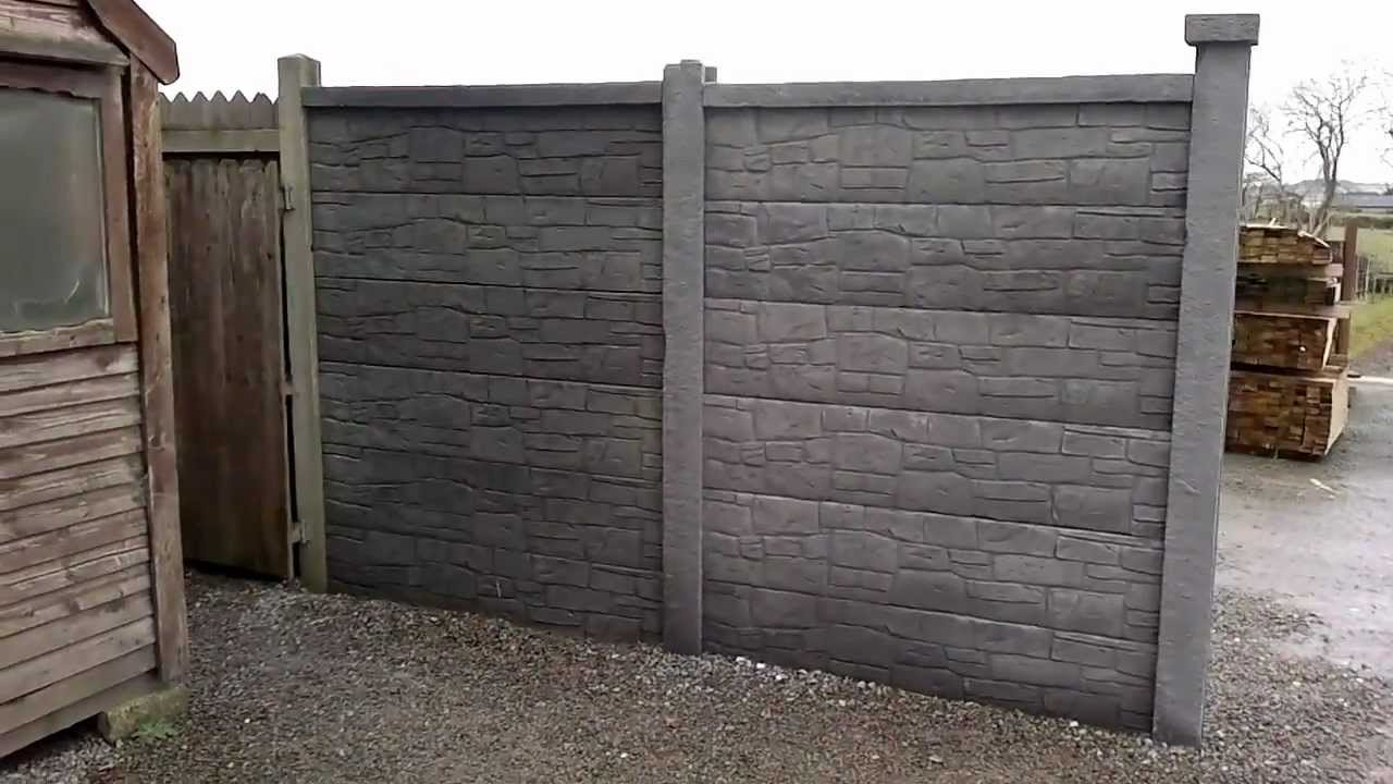 Double Sided Stone-effect Fence Panel Assembled Section