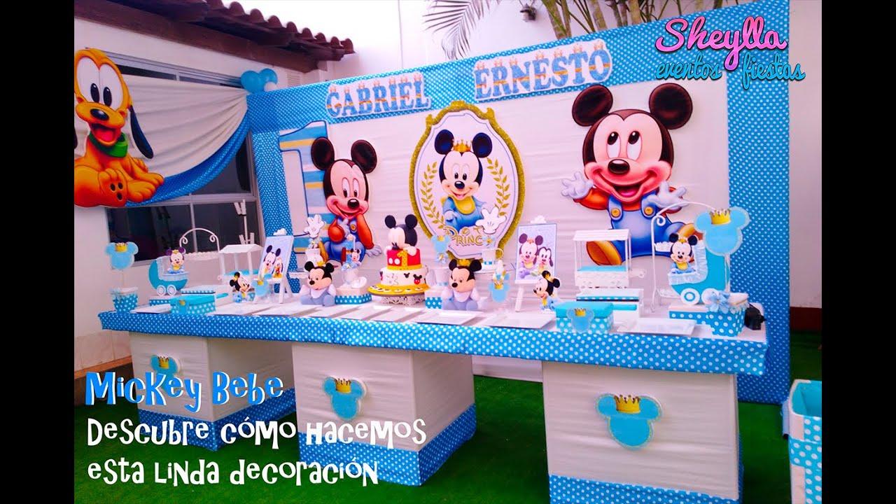 Decoración De Un Año Mickey Bebe Príncipe Rey Fiesta Para Niño Baby Mickey Decoration Youtube