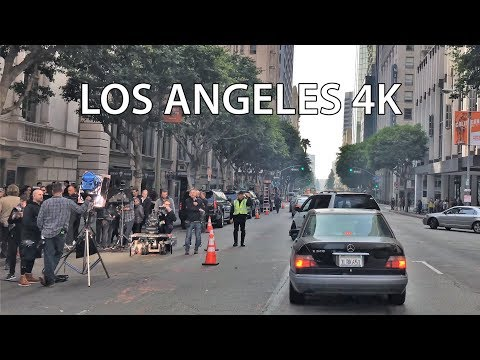Driving Downtown 4K - Hollywood Movie Set - USA