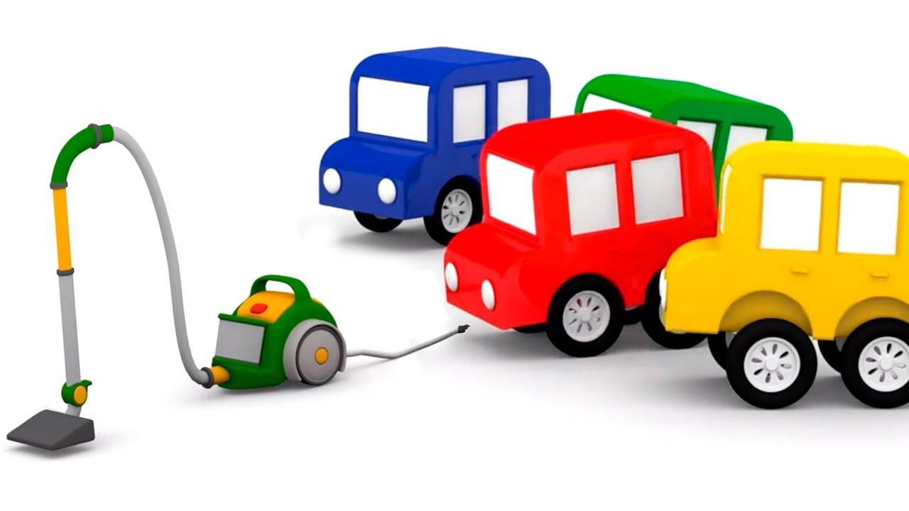 Vamos montar um aspirador de pó! 4 carros coloridos. Histórias para crianças e desenhos animados