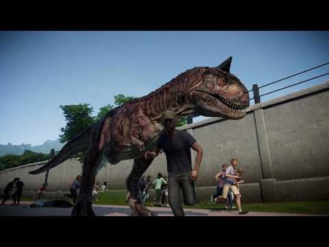 jurassic-world-evolution:-carnotaurus-human-attack-in-slow-motion