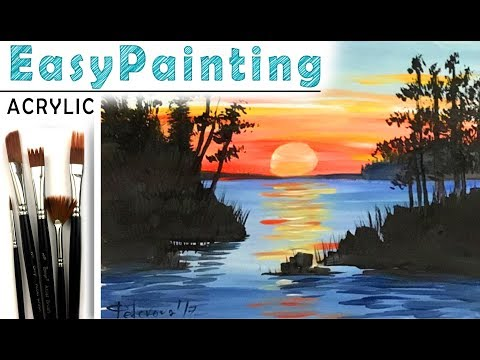 """""""Sunset landscape"""" How to paint 🎨ACRYLIC tutorial for beginners"""