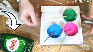 Acrylic pouring: Using dishsoap drops instead of silicone drops? Will it work to make cell's? Fluid