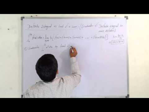 Definite integral as limit of a sum in Hindi