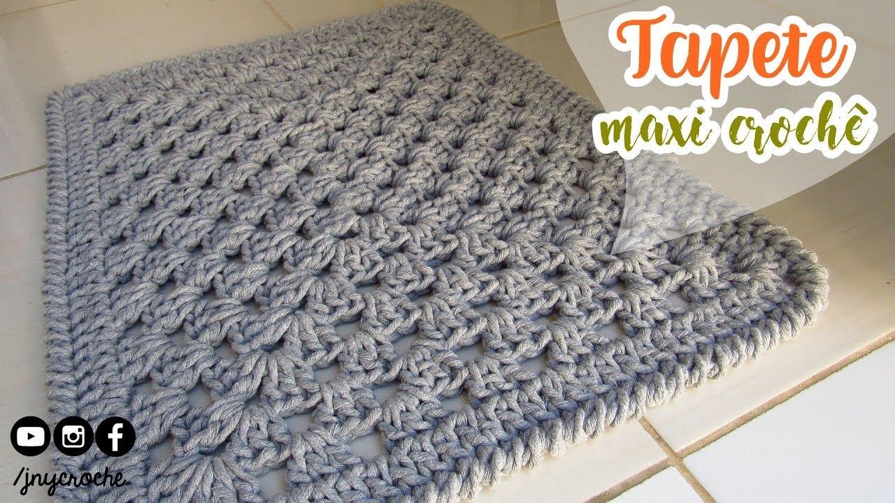 Tapete de crochê para banheiro simples  MAXI CROCHÊ  JNY Crochê  YouTube -> Tapete Para Banheiro Croche Simples