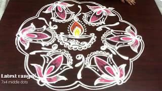 latest rangoli beautiful lotus design 9 dots || creative kolam || easy&simple rangoli designs