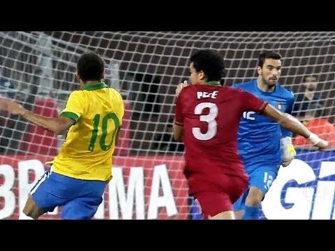 Neymar Vs Pepe Fight - Brazil Vs Portugal - International Friendly