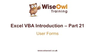 Excel VBA Introduction Part 21 - User Forms