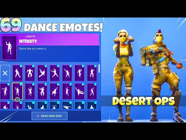 69 DANCE EMOTES on NEW! DESERT OPS SKIN SET! Fortnite Battle Royale