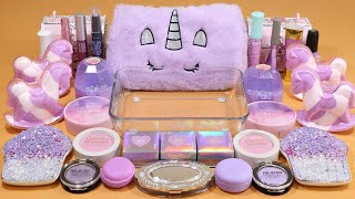 Mixing'Unicorn Lavender'Eyeshadow,Makeup and glitter Into Slime!Satisfying Slime Video