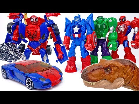 Here Comes Transforming Spiderman Car~! Thanos And His Dinosaurs Appeared #ToyMartTV