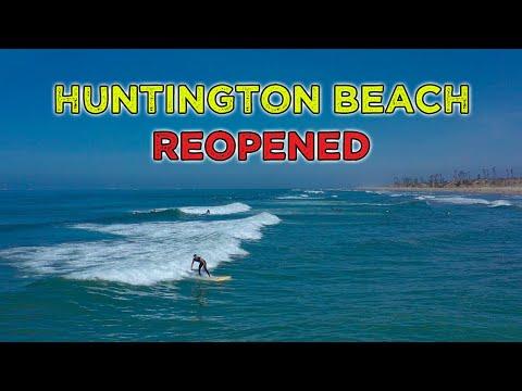 Beaches Reopened : Huntington Beach, California : Drone Footage